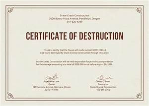 certificate of destruction templates 10 free pdf format With certificate of recycling template