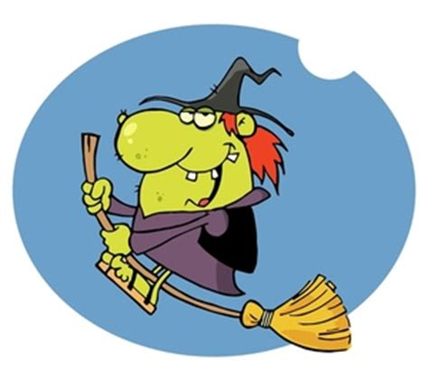 evil cartoon witch flying    broomstick