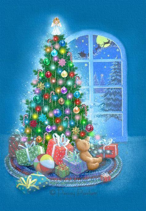 decorated tree christmas card   island