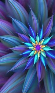Blue Abstract Flower   Abstract flowers, Fractal art ...