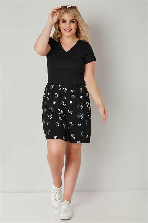 Schwarze Schmetterlings Muster Jersey Kurze Hose, In