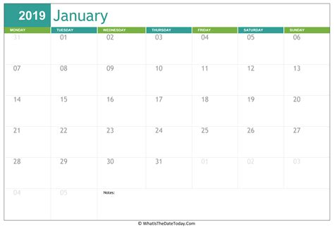fillable january calendar whatisthedatetodaycom
