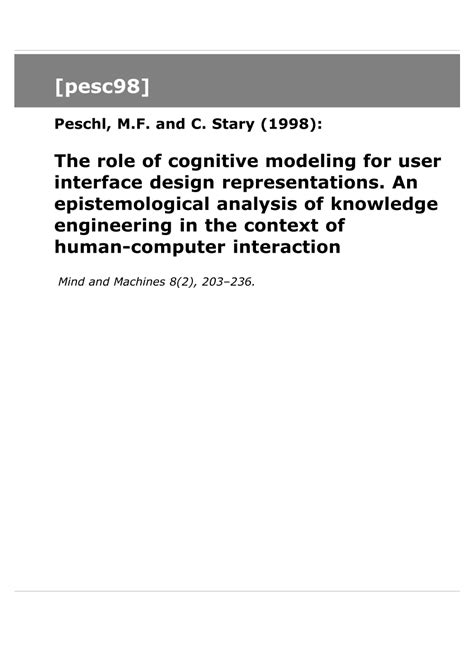 The Design Functions Of A Knowledge Based Pdf The Of Cognitive Modeling For User Pdf