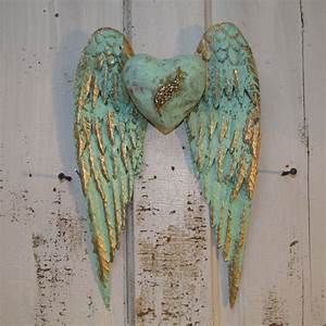 Angel wings wall decor with heart shabby chic rusty metal