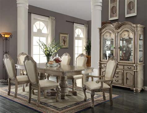 9 piece acme chateau de ville antique white finish dining set
