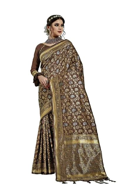 Deep round neck with puffed sleeve premium fabric with attractive embroidered border and grand contrast work blouse. Generic Women's Kanjeevaram Art Silk Saree With Blouse (Coffee Brown, 5-6 Mtrs) - Ayalathe Peedika