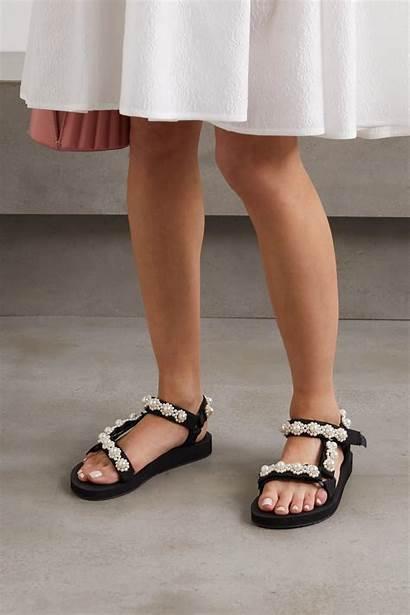 Sandals Arizona Pearl Trekky Embellished Faux Platform