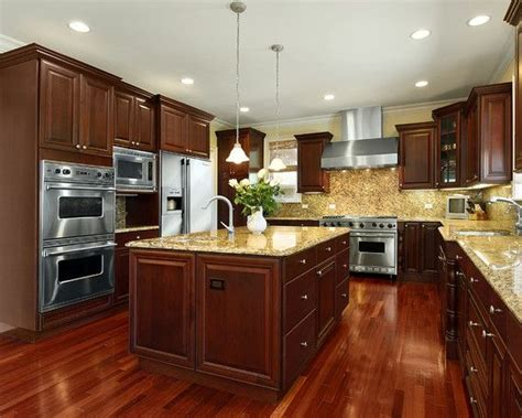 kitchen with cherry wood floors kitchens with cherry wood cabinets design pictures 8743