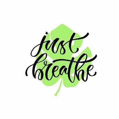 Breathe Phrase Respiri Vettore Appena Mano Handwritten