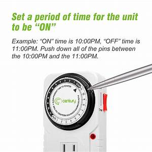 Century 24 Hour Plug In Mechanical Grounded Programmable