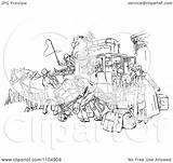 Stagecoach Horse Clipart Drawn Retro Crowded Vector Royalty Prawny Coloring Template Illustration sketch template