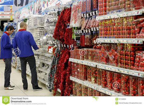 christmas decorations  store editorial stock image