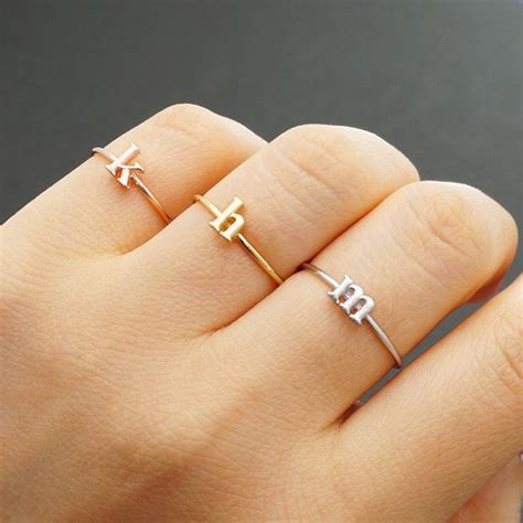 initial ring  case small letter adjustable ring personalized ring letter ring