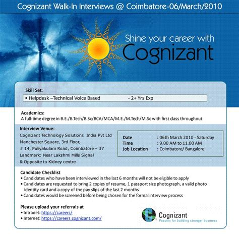 walk in cts helpdesk coimbatore on 6 mar 2010