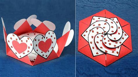 diy valentine card hexagon shape heart message card