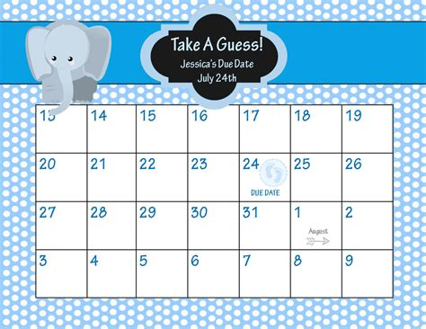 Baby Pool Calendar Template by Animal Baby Shower Due Date Calendar Elepahnt Baby Shower