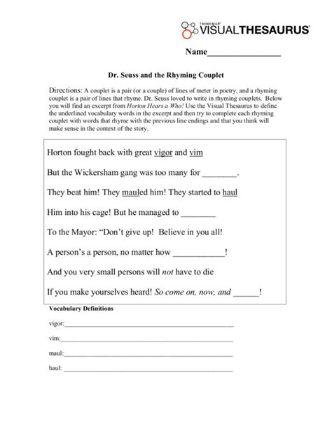 Rhyming Couplets Lesson Plans & Worksheets Reviewed by