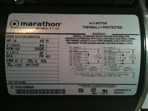 Marathon 2hp Electric Motor Wiring Diagram by Hi I Just Bought A Marathon Electric Ac Motor Hp 1 4 V