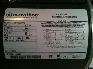 Hi  I Just Bought A Marathon Electric Ac Motor  Hp  1  4 V