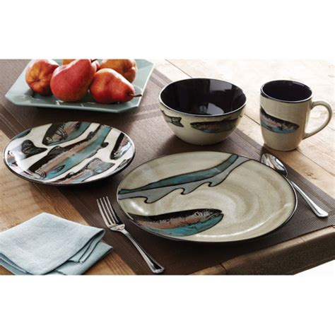 better homes and gardens trout lodge 16 dinnerware