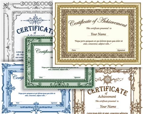 Photoshop Certificate Template by Certificate Border Vector Set 1 Vector Photoshop