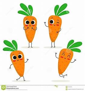 Carrot. Cute Vegetable Character Set On White Stock Vector ...