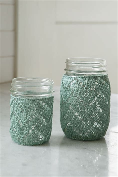 Chevron Mason Jar Cozy   Knitting Patterns and Crochet