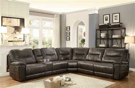 leather reclining sectional homelegance columbus reclining sectional sofa set d