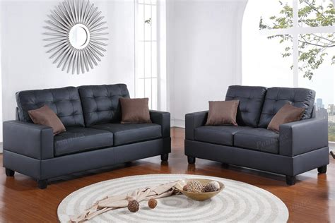 Black Leather Sofa And Loveseat Set Stealasofa