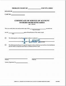 Certificate of Service of Account to Heirs or ...