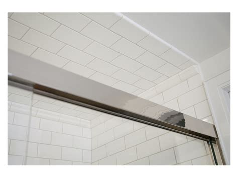 guest bath tiled shower ceiling pre war nyc residence