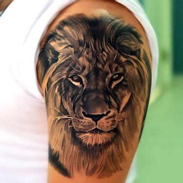 cool realistic lion tattoo  upper arm