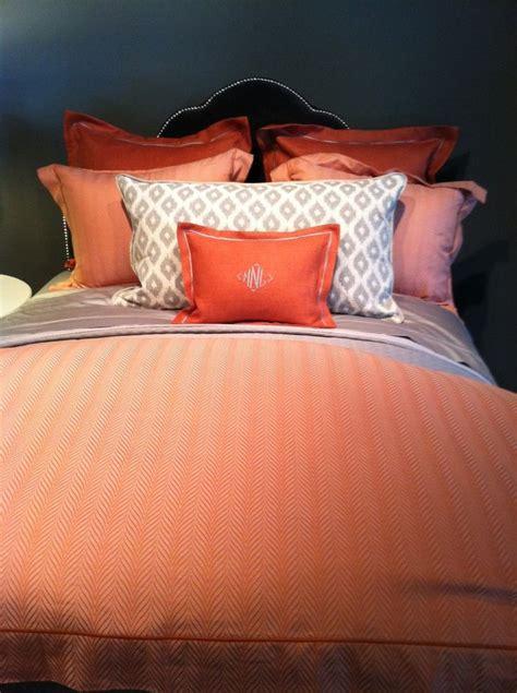 peach  grey bedding