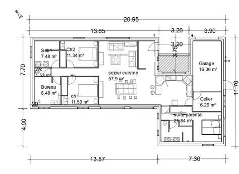 plan de maison plain pied 3 chambres gratuit plan maison 90m2 plainpied 3 chambres amazing cheap