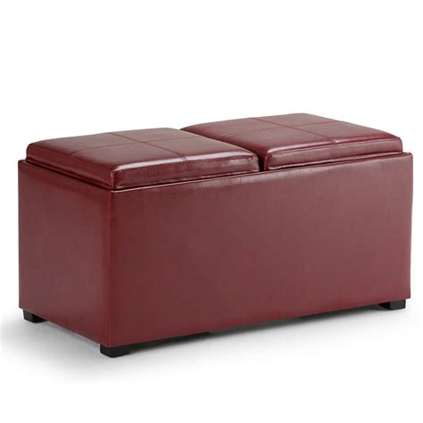red leather storage ottoman 3 piece faux leather storage ottoman in red ay f 15b rrd