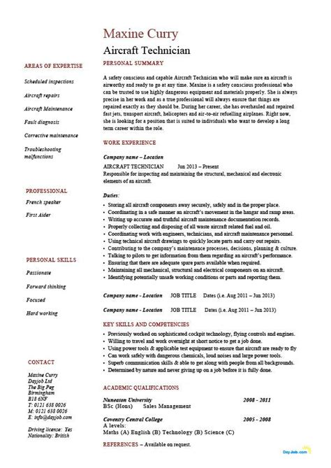 Aircraft Maintenance Technician Resume by Aircraft Technician Resume Exles Pilot Description Cv Sle Flying