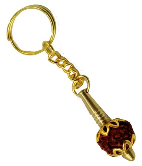 Faynci Golden Gada With Five mukhi Rudraksha Keychain: Buy ...
