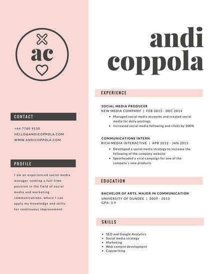 Canevas Cv by Cv Template Canva Resume Format