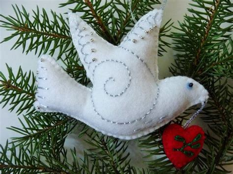 dove ornament white felt bird ornament dove of peace