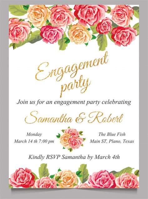 Engagement invitation card with flower and gold Vector
