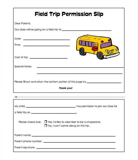 image result  basic field trip permission slip