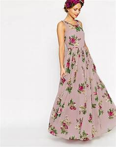 Asos wedding super full maxi dress in floral print in pink for Floral maxi dress wedding