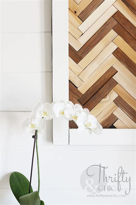hometalk herringbone pattern wall art  wood shims