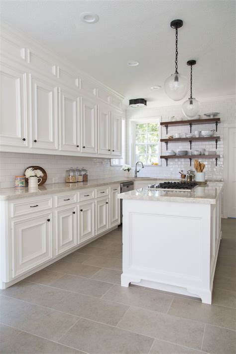 white kitchen with white subway tile 18 beautiful exles of kitchen floor tile 2107