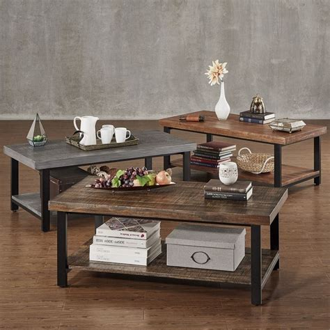 tribecca home furniture cyra industrial reclaimed rectangular coffee table by