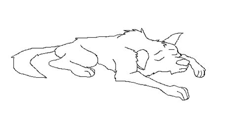 Wolf, Dog Sleeping Lineart By Shadowwolfbases On Deviantart