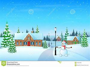 Christmas Holiday Village House Winter Snow, Stock Vector ...