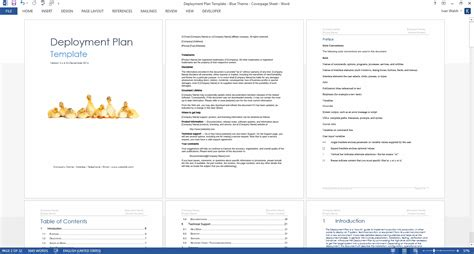 deployment plan template   page ms word sample