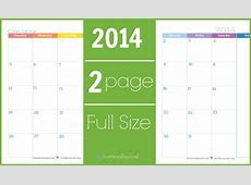 2014 Calendar Two Page Monthly Scattered Squirrel