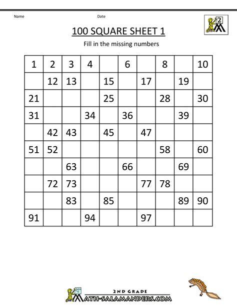 printable number worksheets for grade 1 number square worksheets